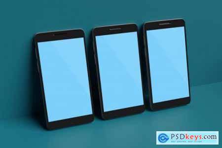 Mobile phone mockup 3d rendering for scene creator advertising