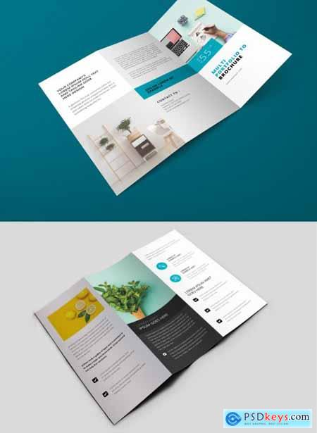 Creative Clean Trifold Brochure Layout with Pastel Accent 361438991