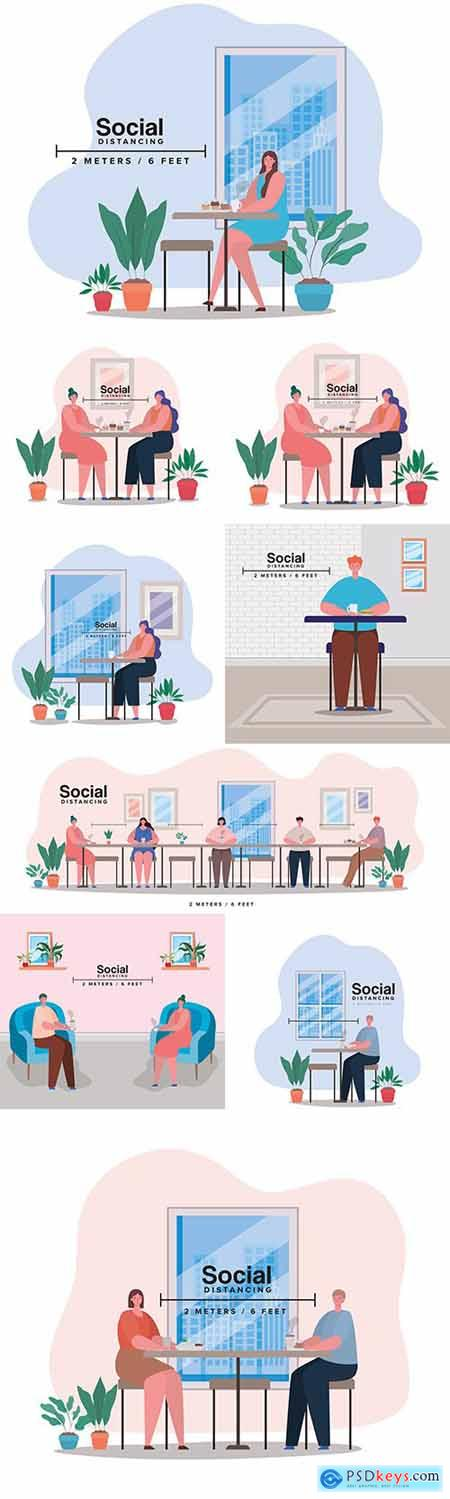 Social distance 2 meters in crowded places of illustration