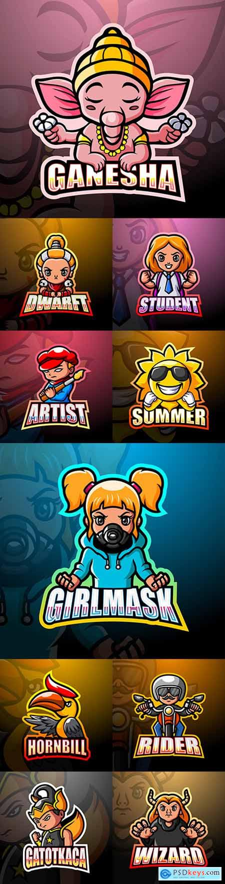 Emblem gaming mascot design cybersport illustration 23