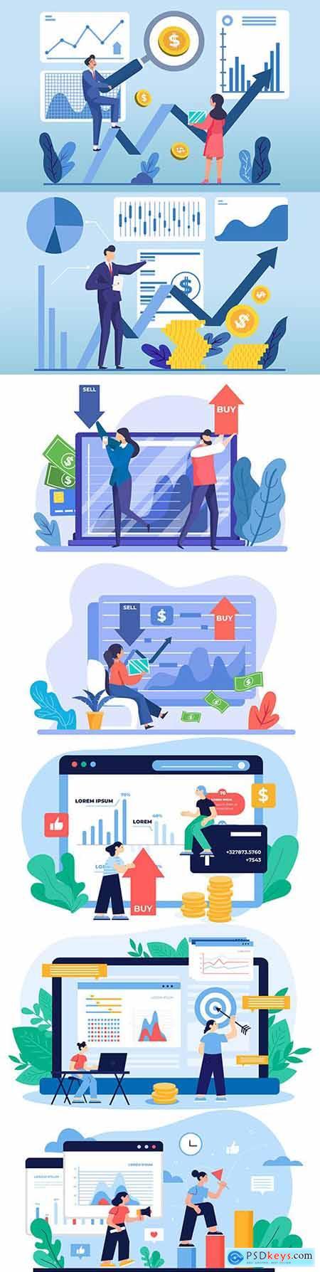Business success finance and money deposits profitable illustrations