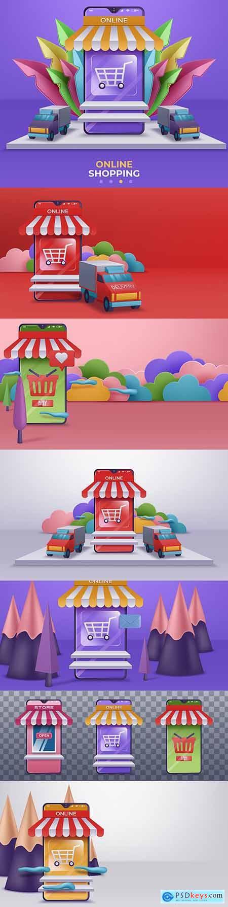 Online store and mobile application design 3d illustration