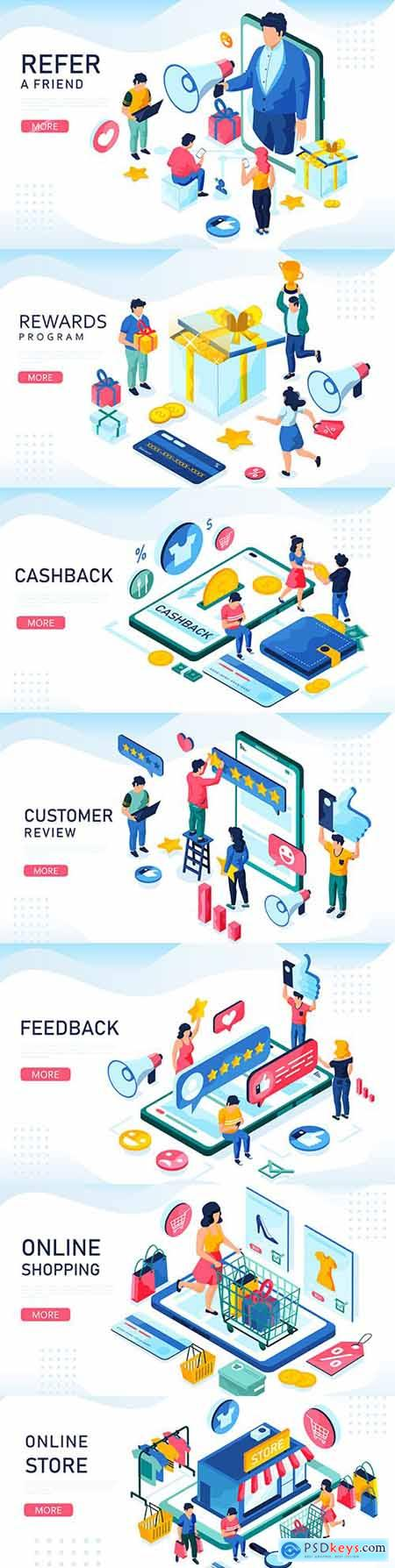 Retail sale and online purchase illustration isometric