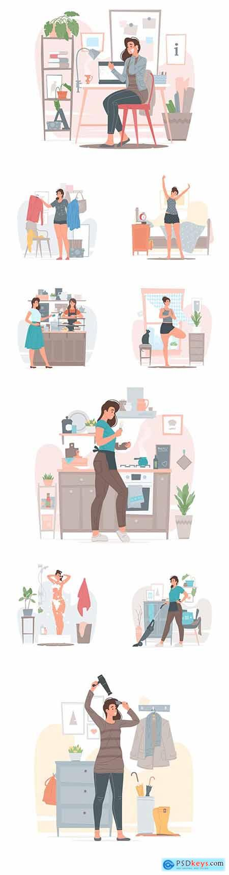 Young girl at home is engaged in cleaning and everyday activities