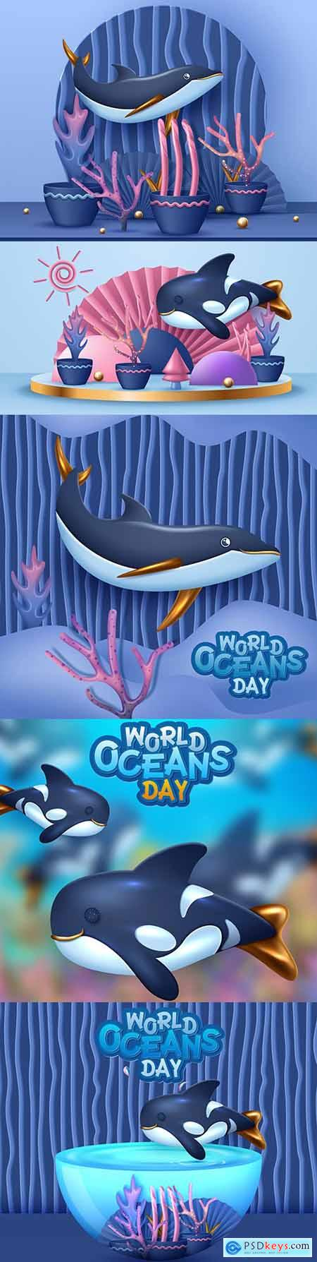 World ocean day with marine dwellers cartoon 3d illustrations