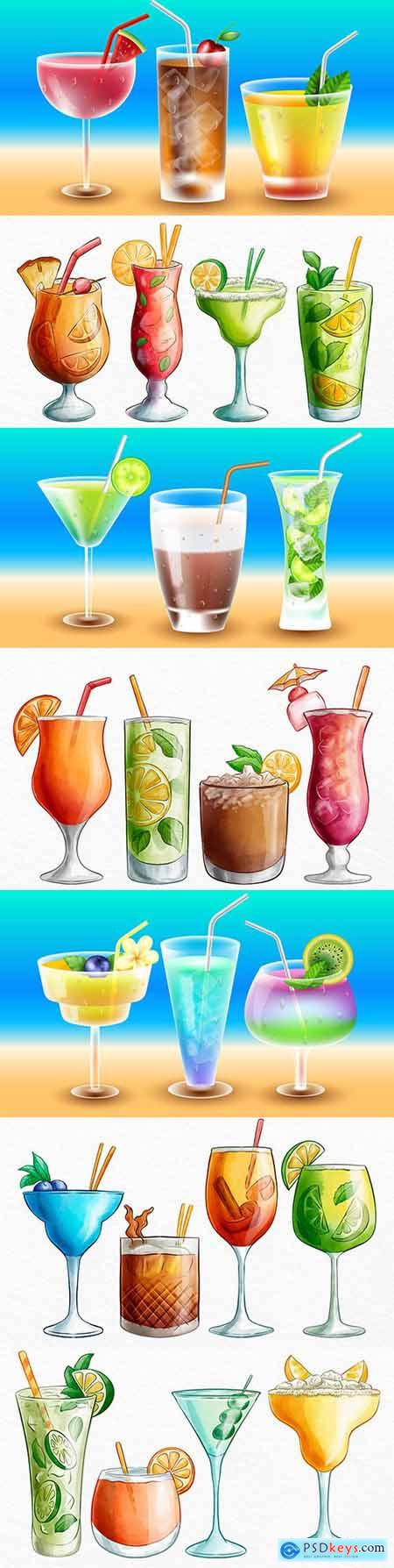 Summer tropical watercolor cocktails drawn illustrations