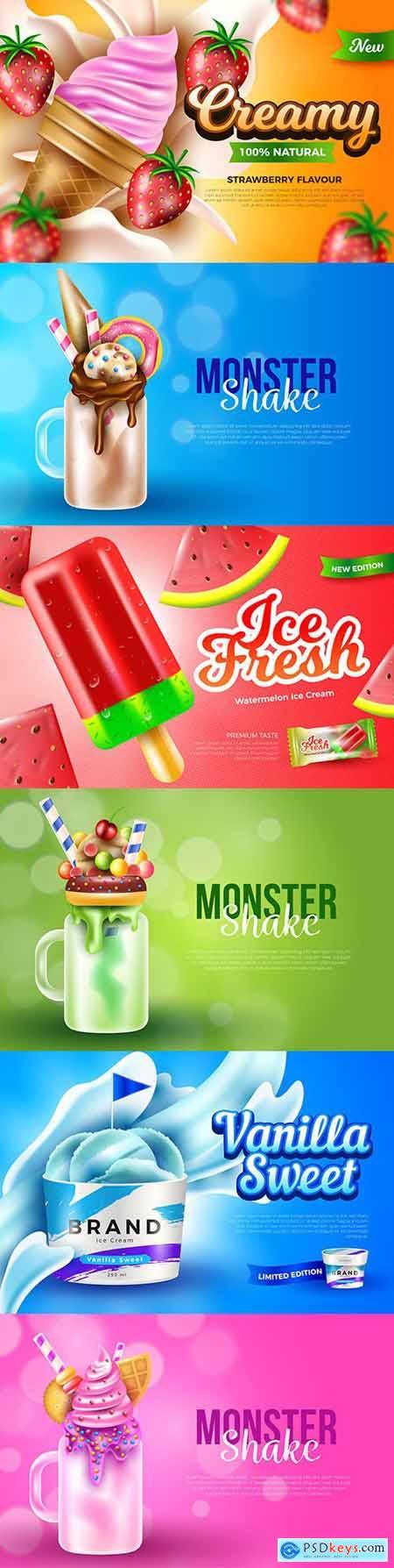 Ice cream and monster shake poster advertising design