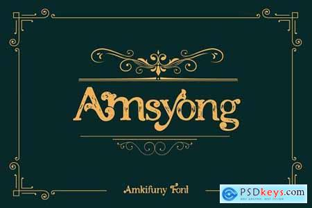 Amkifuny New Brush Serif Display Font Typeface