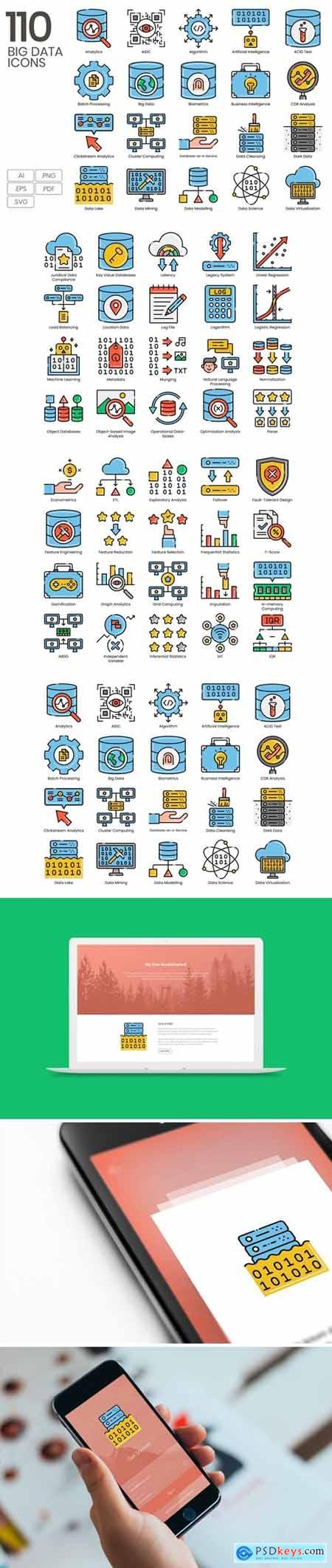 110 Big Data Line Icons