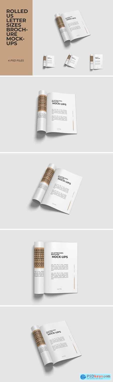 Rolled brochure US Letter size halfread mockups