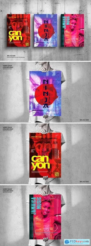Music Event Big Poster Design Set 3VERXUK