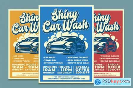 Shiny Car Wash Service Flyer Template