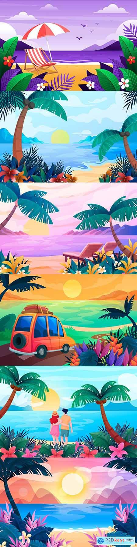 Summer beach with tropical leaves and sunset background