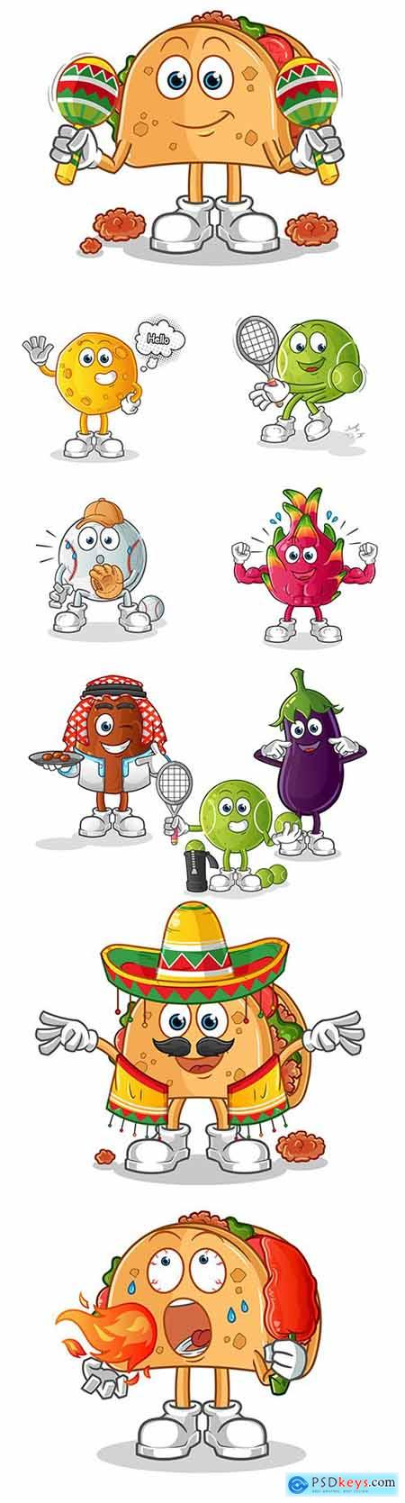 Fruit and vegetables cartoon characters illustration