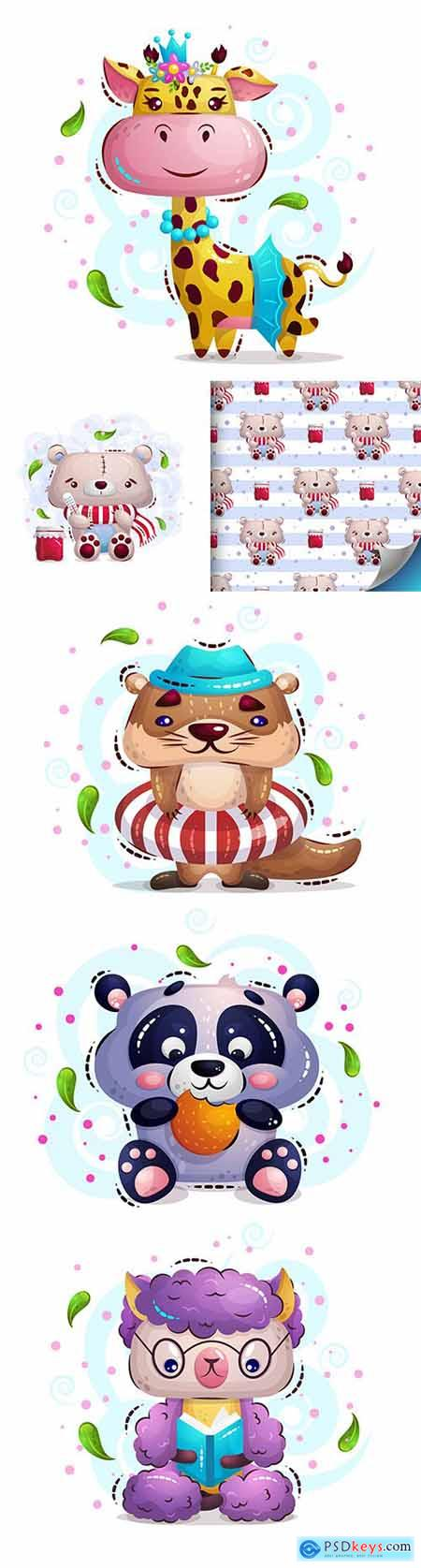 Cartoon character cute children animal illustration