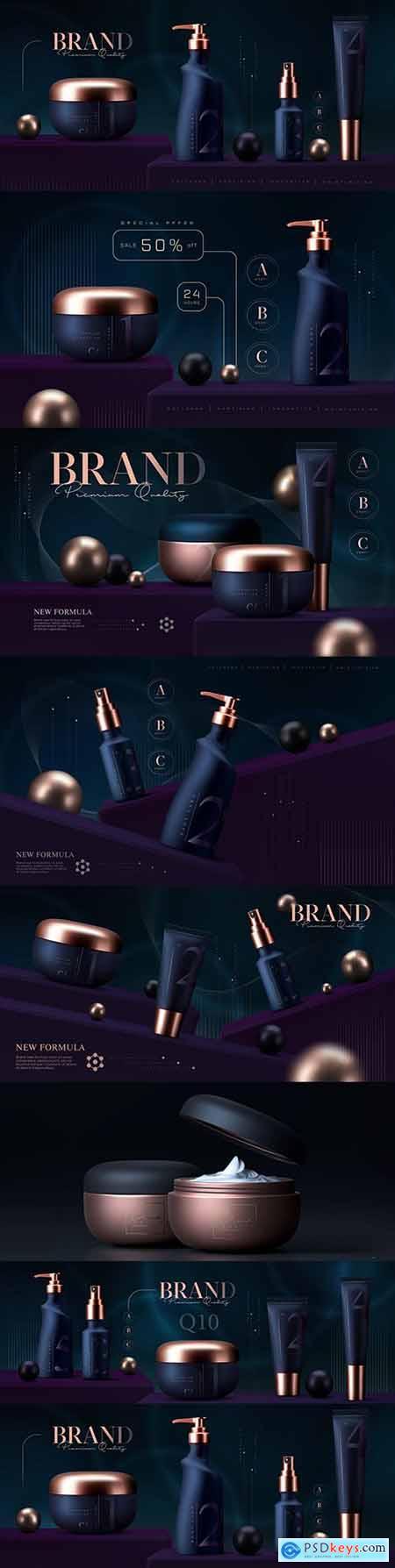 Cosmetic cream and skin care makeup luxury 3d premium template