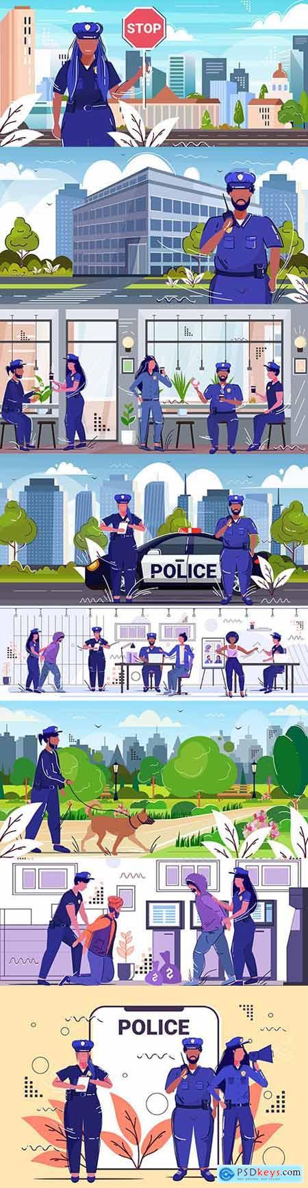 Policeman and criminal cityscape concept security