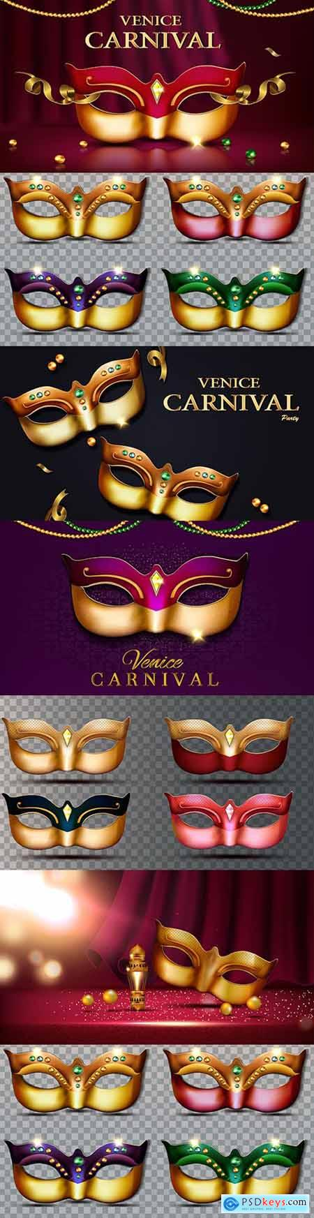 Venice carnival mask with diamonds and gold elements