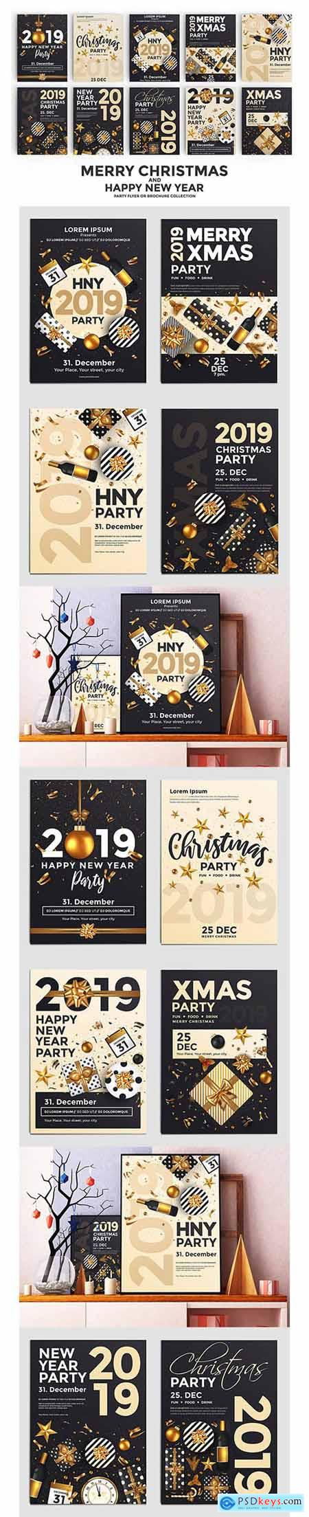 Set of 10 Christmas Party Flyer Templates