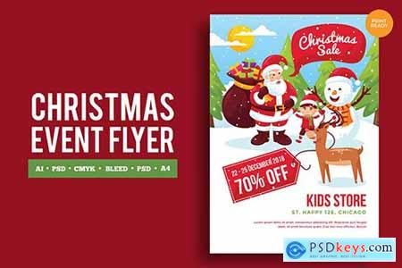 Merry Christmas Event Flyer PSD and Vector Vol3