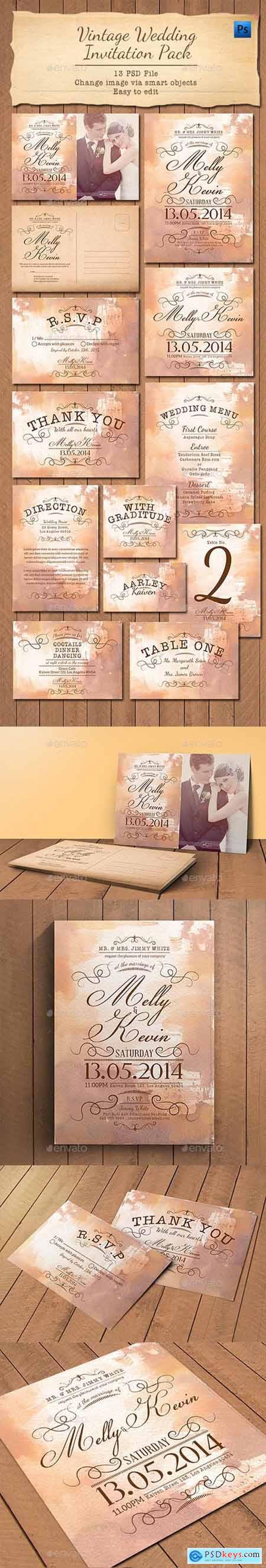 Vintage Wedding Invitation Pack 11239807
