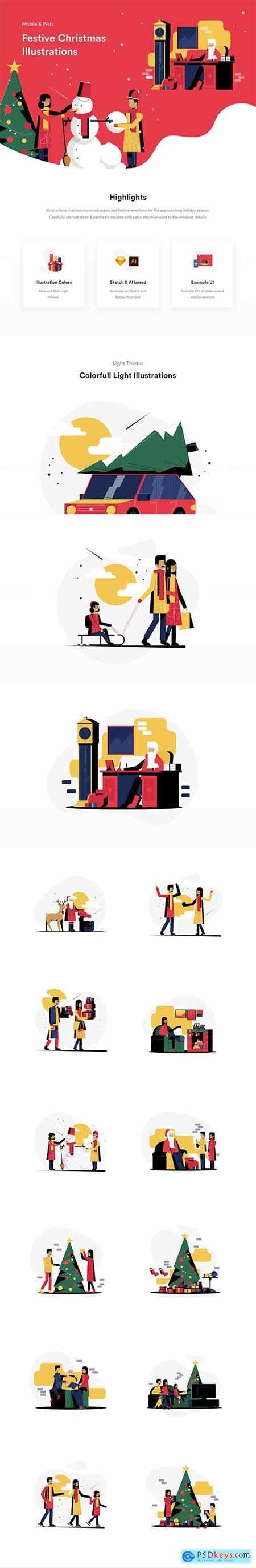 Festive Christmas Illustrations
