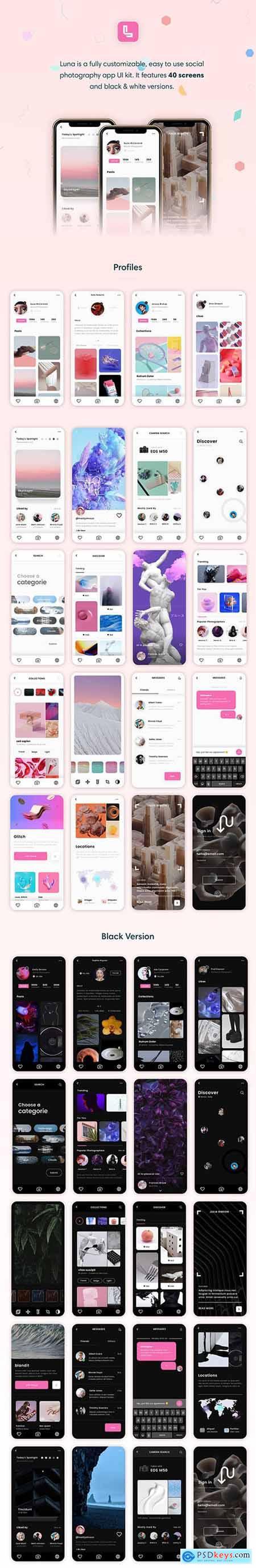 Luna Photo App UI Kit