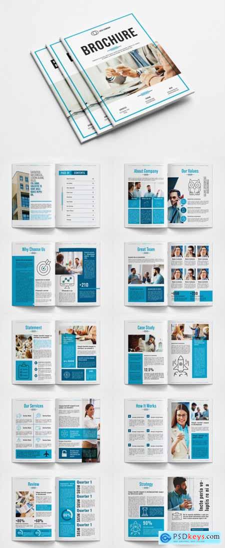 Business Brochure Layout with Blue Accents 362695303