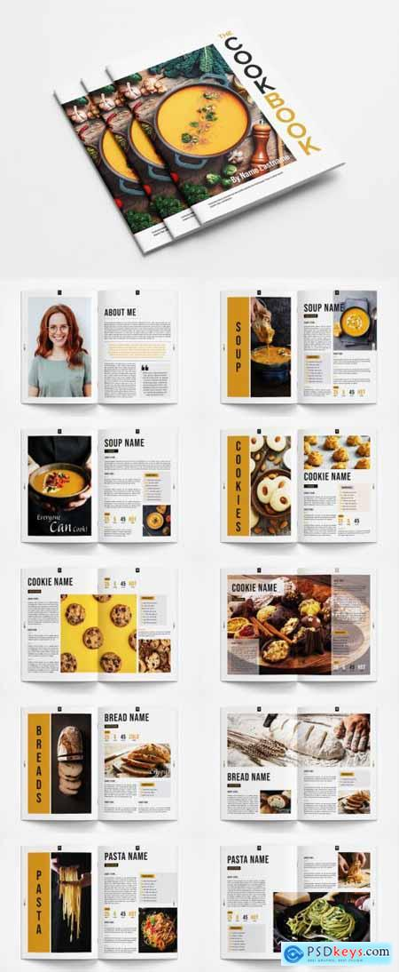 Cookbook Layout with Orange Accents 363013238