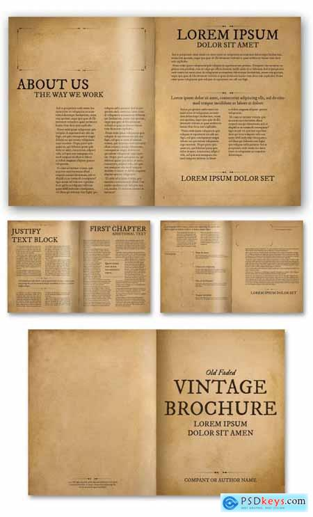 Old Faded Brochure Layout 362980279