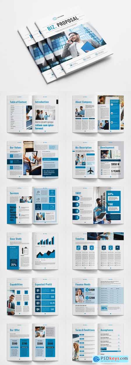 Business Proposal Layout with Blue Accents 362694894