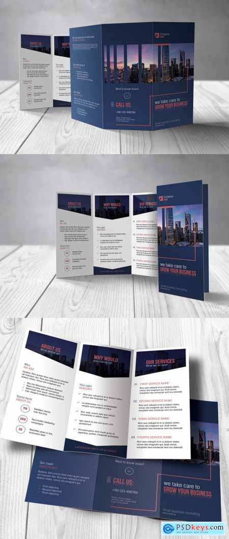 Business Trifold Brochure with Blue and Red Accents 363641451