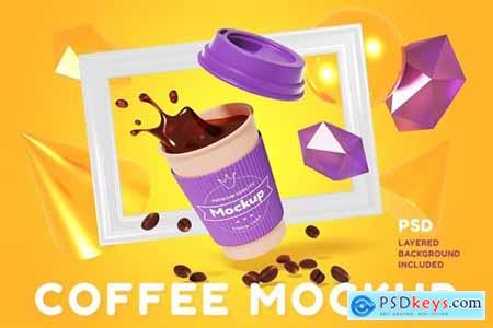 3d coffee cup mockup with frame