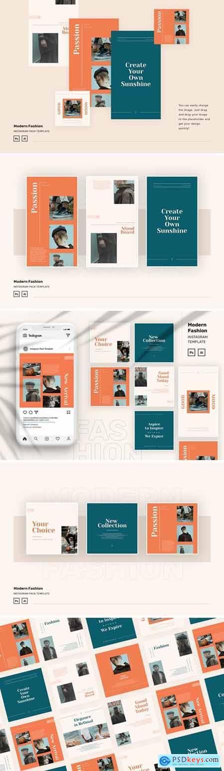 Modern Fashion Instagram Pack Template PSD