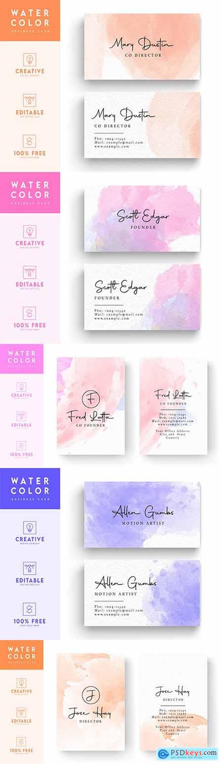 Business card modern art watercolor with decorative inscriptions