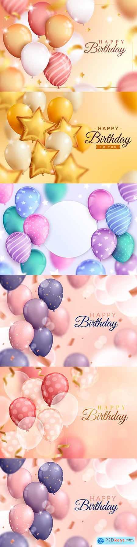 Happy birthday holiday invitation realistic balloons 15