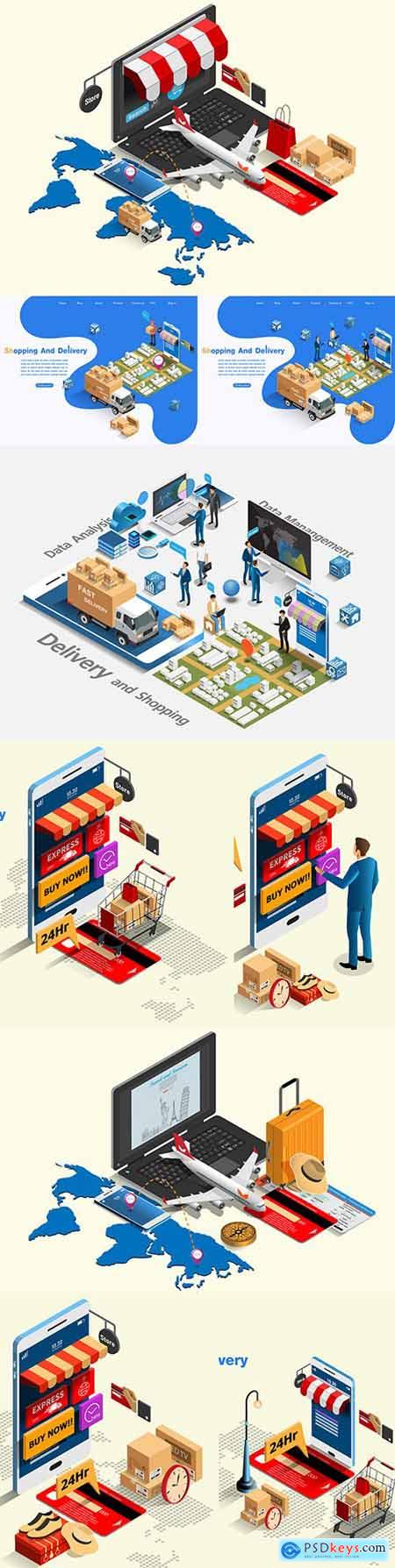 Buying and shipping online e-commerce market isometric concept