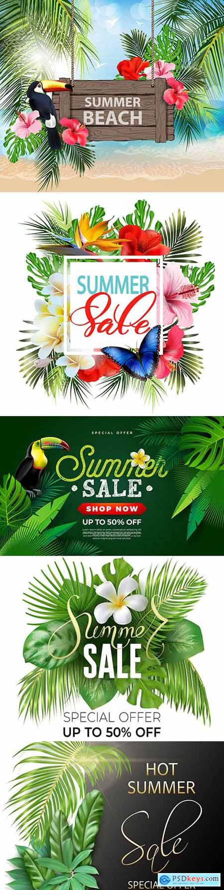 Summer sale background with tropical flowers and birds