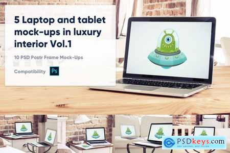 5 Laptop and tablet mock-ups in hotel Vol. 1