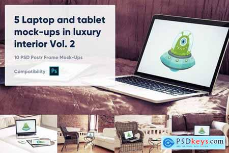 5 Laptop and tablet mock-ups in hotel Vol. 2