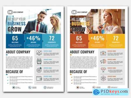 Business Flyer Layout with Blue and Orange Accents 363965073