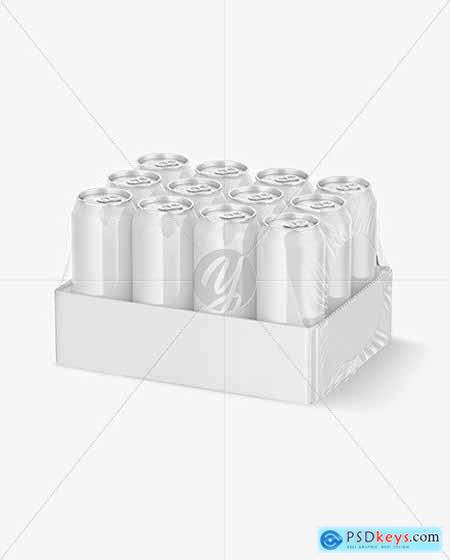 Transparent Pack with 12 Glossy Cans Mockup