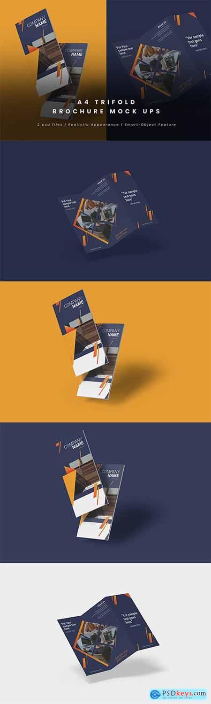 Realistic Trifold Brochure Mock-Ups