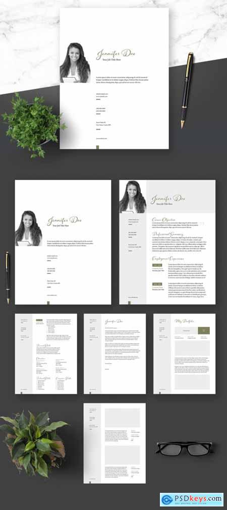 Resume Cover Letter and Portfolio Clean Layout with Green Elements 364520943