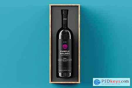 Wine Bottle Gift Box Mock-up Template