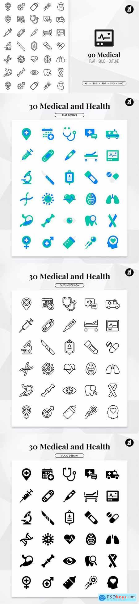 90 medical elements in minimal design