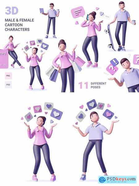 3d male&female character set