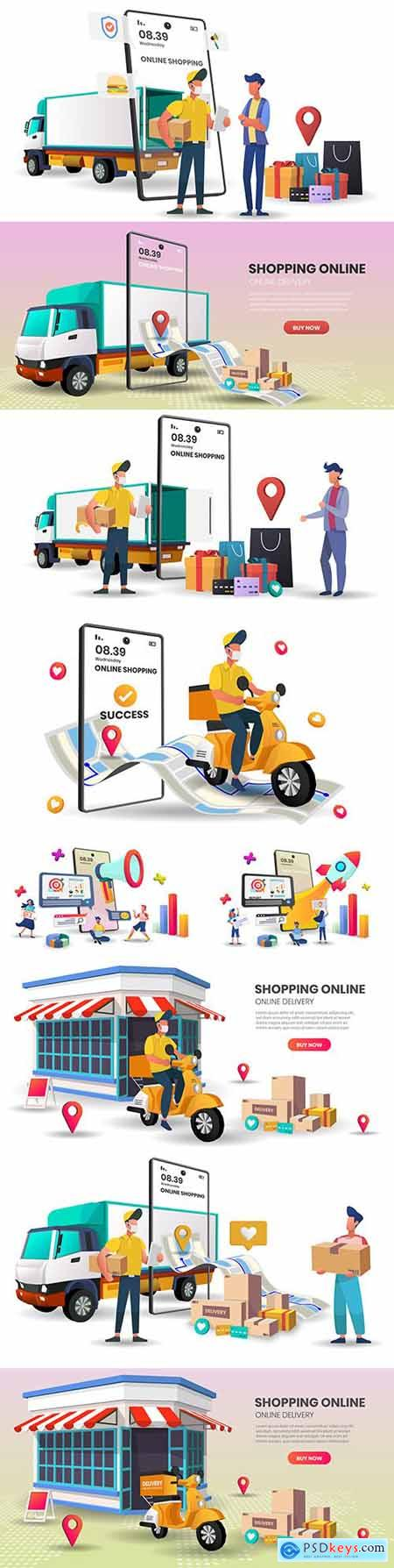Shopping online on mobile app with truck concept digital