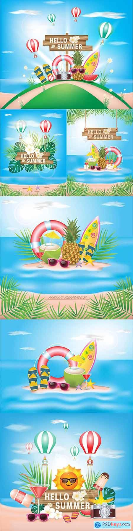 Hello summer holiday with flower on blue ocean background