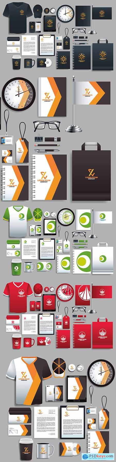 Set of color and white elements stationery templates